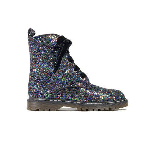 'Billie' Black/Multicolour Glitter vegan combat boots by Zette Shoes