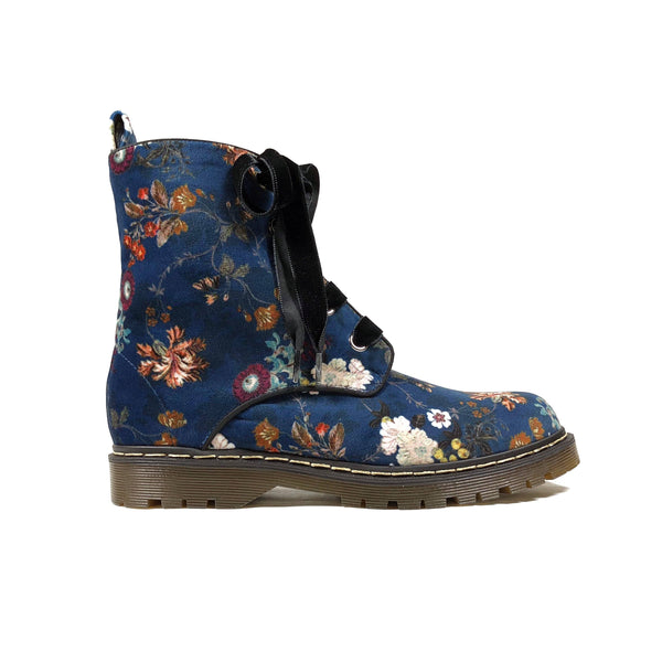 'Billie' Multicolour soft velvet vegan boots by Zette Shoes