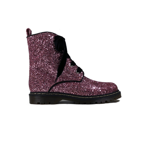 'Billie' Pink Glitter Boots by Zette Shoes