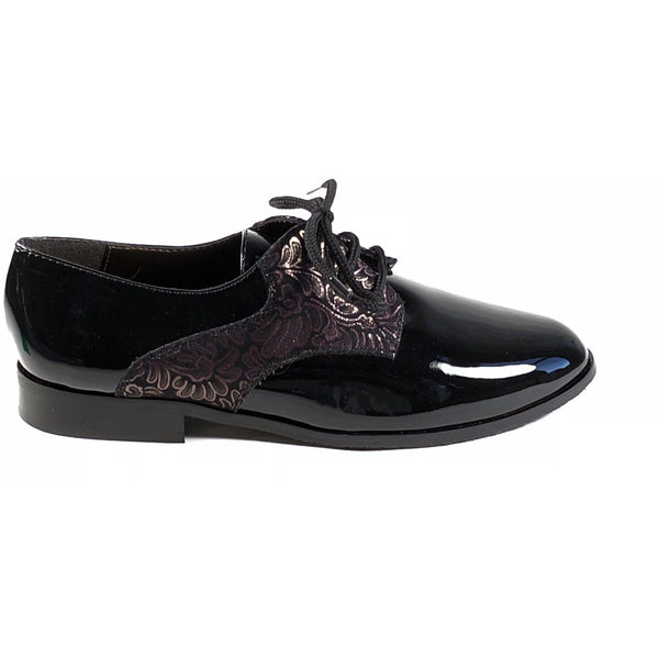 'Renee'  Black vegan-patent leather/textile oxfords by Zette Shoes