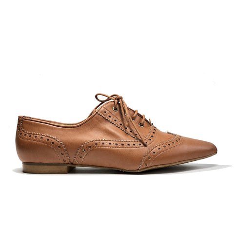 'Jodie' Vegan Brogues in caramel by Zette Shoes