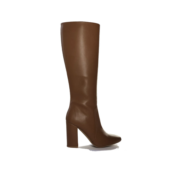 Vegan leather heeled knee high boots - Claudia chestnut