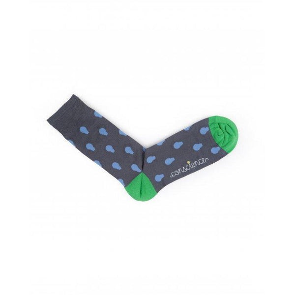 Lightbulb print blue and green socks by Conscience