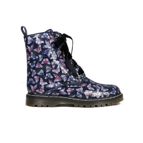 'Billie' multicolour soft satin vegan boots by Zette Shoes - deep navy