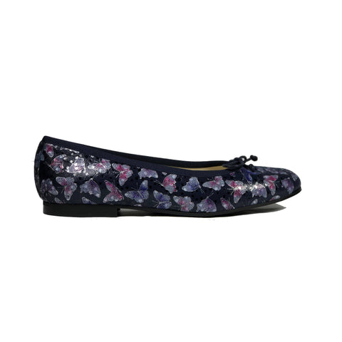 'Madi' vegan textile ballet flat by Zette Shoes - deep navy