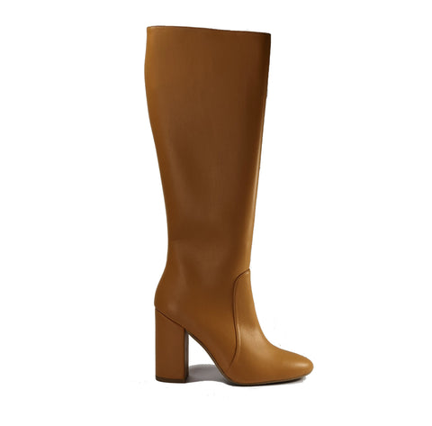 Vegan leather heeled knee high boots - Claudia camel