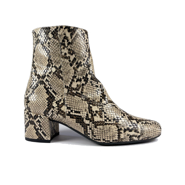 'Jacqui' vegan ankle boot by Zette Shoes - desert snakeskin