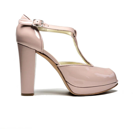 'Dot' vegan t-bar heels by Zette Shoes - pink