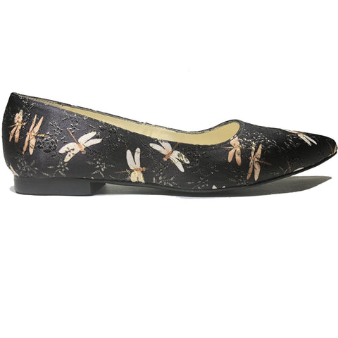'Sophie' Black dragonfly flats by Zette Shoes