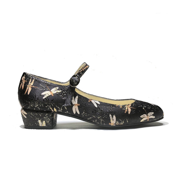 'Gracie' Mary-Jane Black dragonfly vegan Low-Heels by Zette Shoes