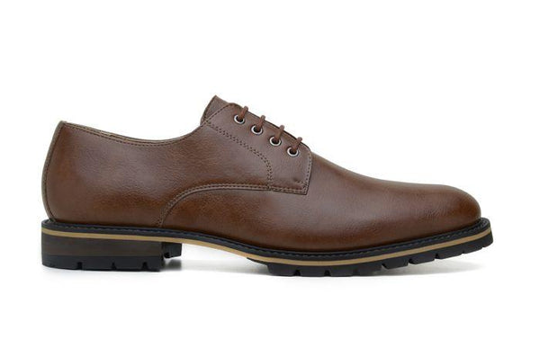 'David' men's derby shoe  by Ahimsa - cognac - Vegan Style