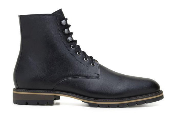 'Robert' vegan men's lace-up boots by Ahimsa - black - Vegan Style