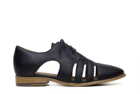 Alice black vegan oxford shoes for women