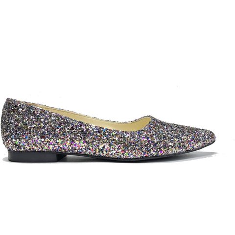 'Sophie' Glitter Flats by Zette Shoes
