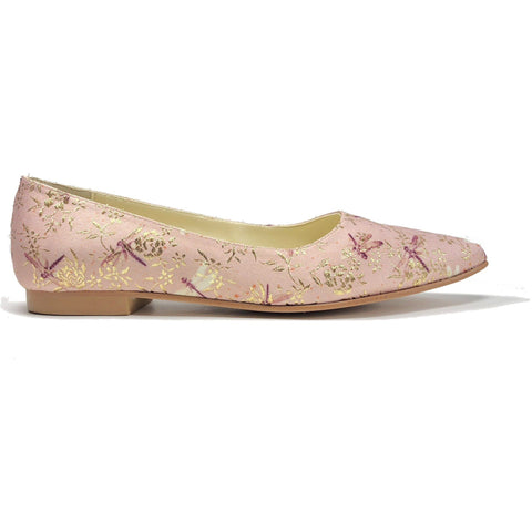 'Sophie' Pink Dragonfly vegan flats by Zette Shoes