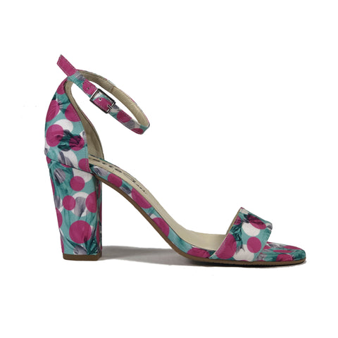 'Tahlia' vegan sandal-heel by Zette Shoes - pink/aqua - Vegan Style