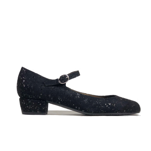 'Gracie' Mary-Jane black textile vegan low-heels by Zette Shoes