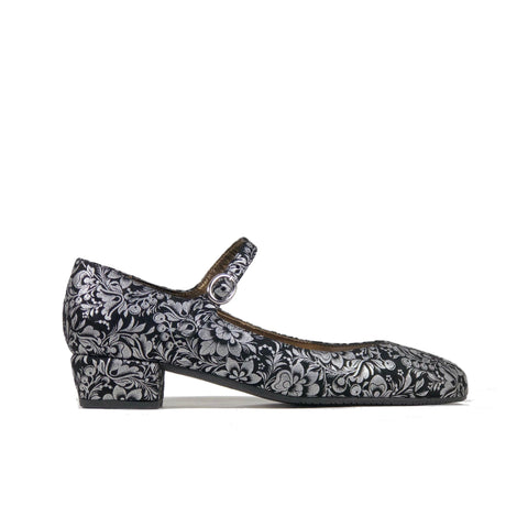 'Gracie' Mary-Jane black/silver floral textile vegan low-heels by Zette Shoes