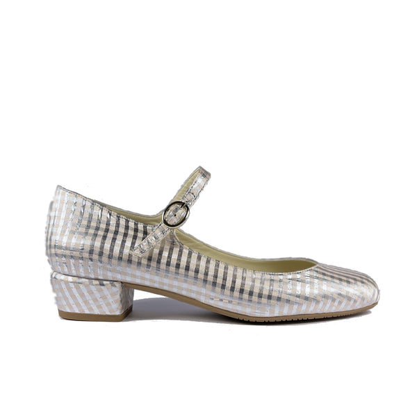 'Gracie' Mary-Jane vegan Low-Heels by Zette Shoes - Silver/beige gingham