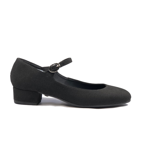 'Gracie' Mary-Jane vegan Low-Heels by Zette Shoes - Black Suede