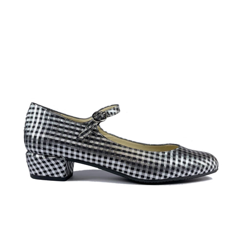 'Gracie' Mary-Jane vegan Low-Heels by Zette Shoes - Silver/black gingham