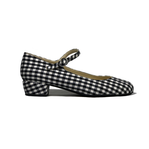 'Gracie' Mary-Jane black gingham textile Low-Heels  by Zette Shoes