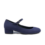 'Gracie' Mary-Jane Vegan Low-Heels by Zette Shoes - Navy Suede