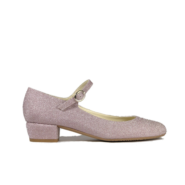 'Gracie' Mary-Jane vegan Low-Heels by Zette Shoes - glittery pink champagne