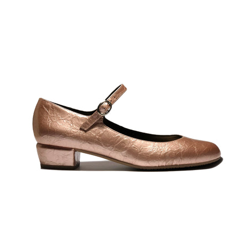 'Gracie' Mary-Jane textured vegan leather low-heels by Zette Shoes - pink