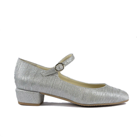 'Gracie' Mary-Jane vegan Low-Heels by Zette Shoes - sparkly silver