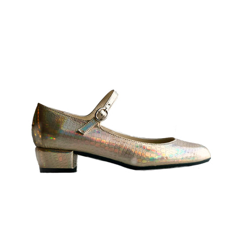 'Gracie' Mary-Jane vegan Low-Heels by Zette Shoes - holographic platinum