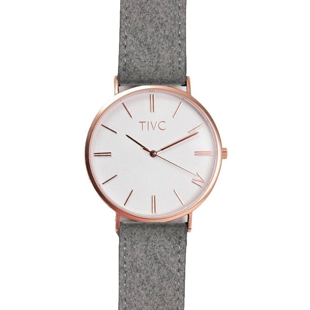 Time IV Change Watch - Rose Gold Face + Grey Eco Suede Band