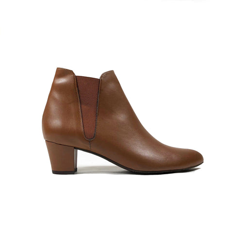 'Henrietta' brown vegan-leather Chelsea bootie Zette Shoes