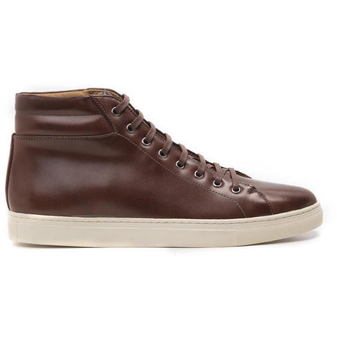 Ahimsa Women's high-top vegan sneakers - cognac