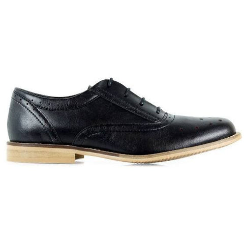 Will's London - perforated oxford in black - Vegan Style