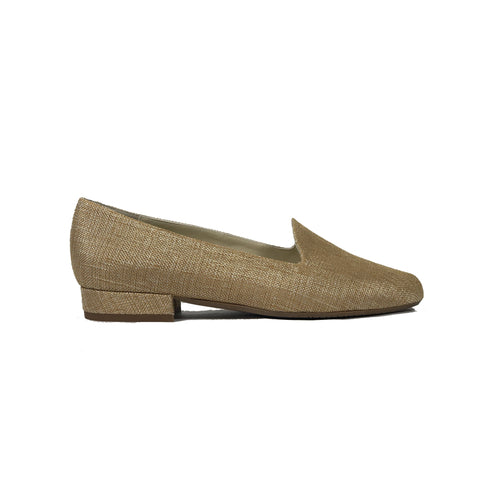 'Tracey' vegan-textile loafers by Zette Shoes - beige