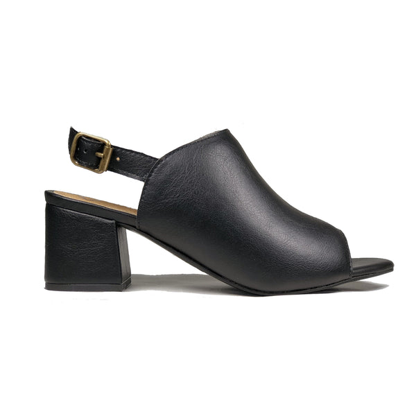 'Iolanda' vegan women's open-toe block heel by Ahimsa - black - Vegan Style