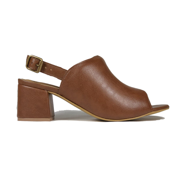 'Iolanda' vegan women's open-toe block heel by Ahimsa - cognac