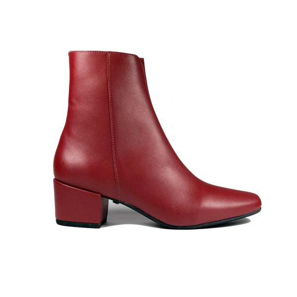 'Jacqui' vegan-leather ankle boot by Zette Shoes - burgundy