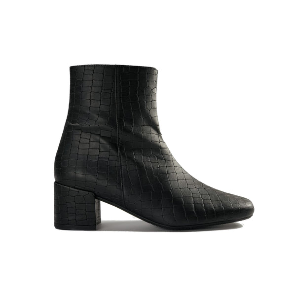Jacqui black vegan crocodile leather ankle boots