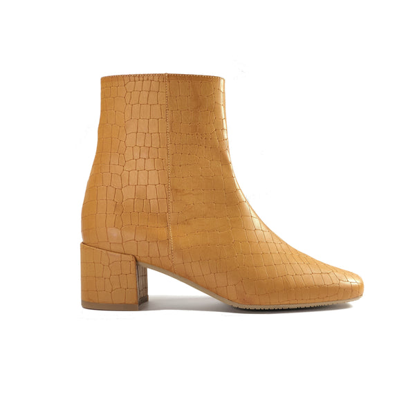 Jacqui vegan crocodile leather ankle boots - camel colour