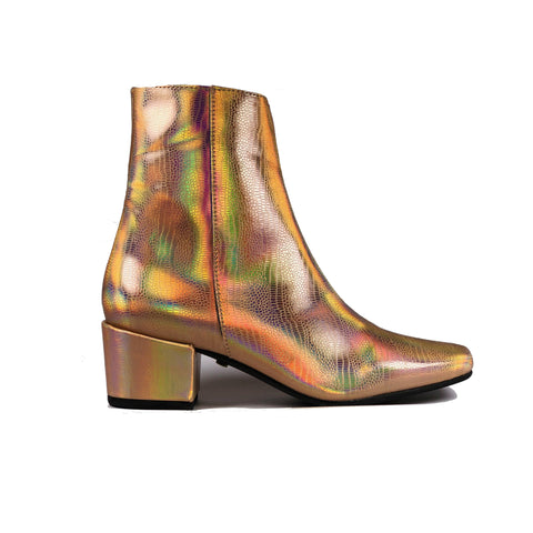 'Jacqui' vegan-leather ankle boot by Zette Shoes - holographic rose gold