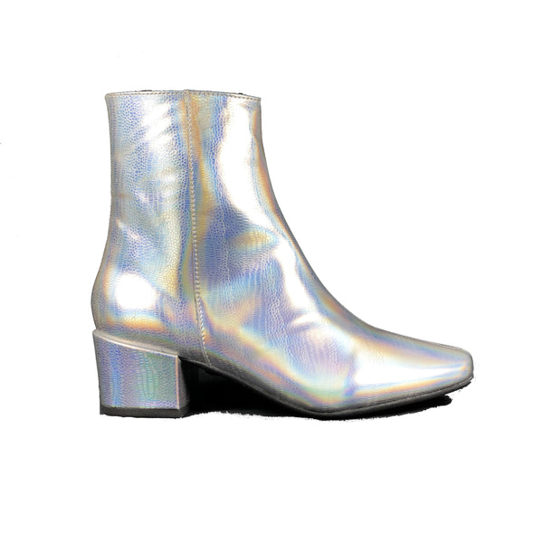 'Jacqui' vegan-leather ankle boot by Zette Shoes - Disco Silver