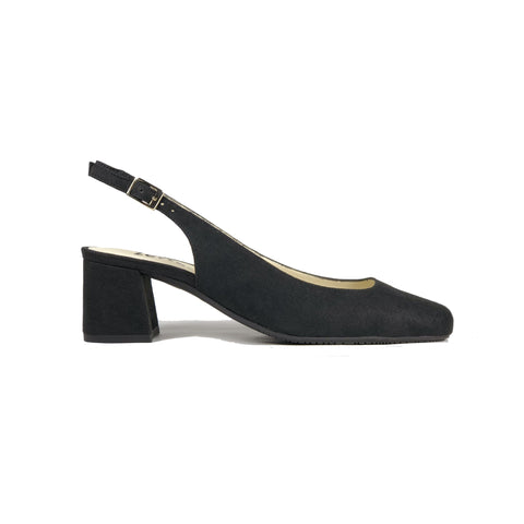 Low-heel sling black in black vegan suede
