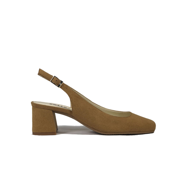 Low-heel sling black in light-brown vegan suede