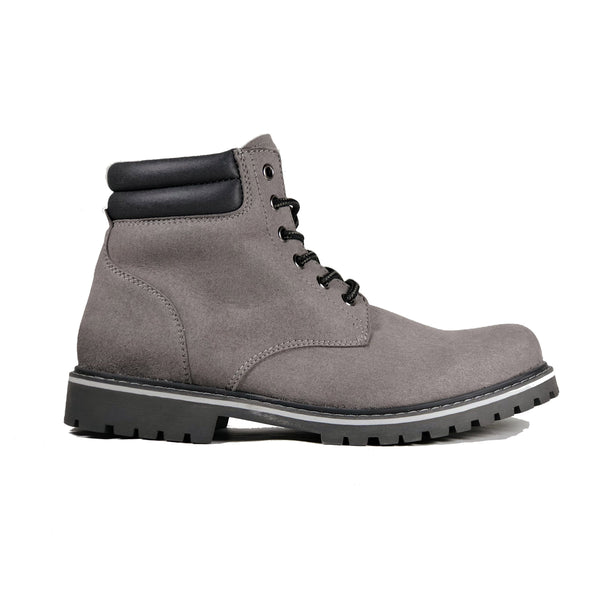 'Lennox' lace-up work boot for men by Zette Shoes - Grey - Vegan Style