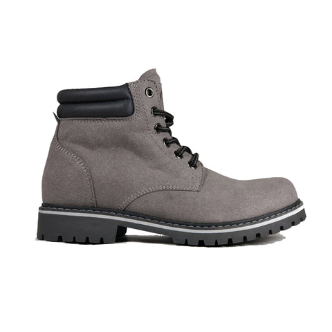 'Lennox' lace-up work boot for women by Zette Shoes - Grey - Vegan Style