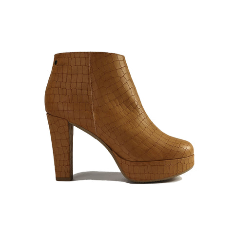 Melissa vegan platform shoes in tan crocodile vegan leather