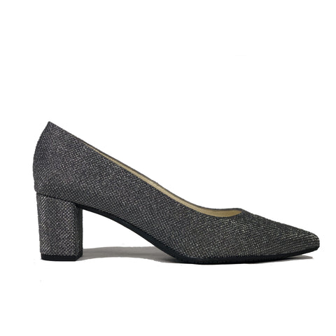 'Joy' vegan mid-heel by Zette Shoes - sparkly charcoal