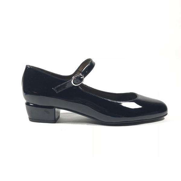 'Gracie' Mary-Jane patent black vegan leather Low-Heels  by Zette Shoes